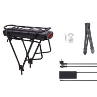 DEHAWK R3S-3613H E-Bike Battery Kit, Bicycle Carrier Conversion kit incl. Charger, Silver/Black 36V 13A 468Wh