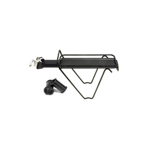 CARRIER Rear Carrier, Seat Post Mounted, Alloy, w/side shape stays, Includes Rubber Shims, BLACK
